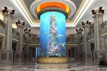 veliki spremnik akrilne ribe u cilindru